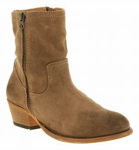 Womens H By Hudson Riley Zip Ankle Boot Beige Suede Boots