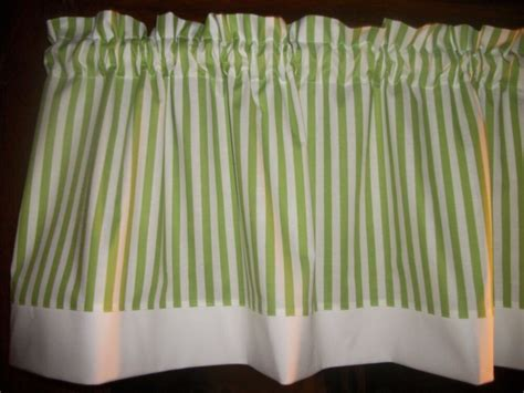 green valance lime green white striped fabric window topper curtain