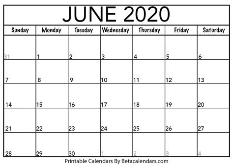 blank june calendar printable beta calendars