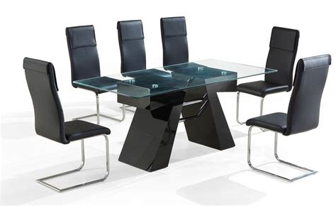 modern black high gloss clear glass dining table   chairs