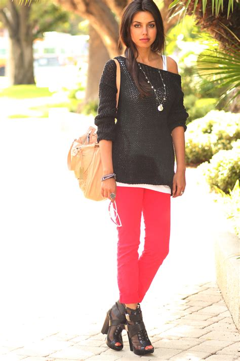wear  red colored jeans glam radar