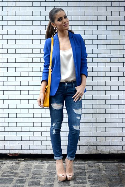 Look Camila Coelho Blazer azul e jeans | Looks and inspiration | Pinterest | Blazers Silk and ...