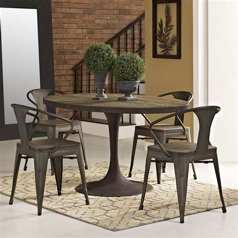 drive  oval dining table wood top brown dcg stores