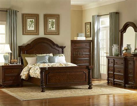 dark brown finish traditional bedroom woptional items