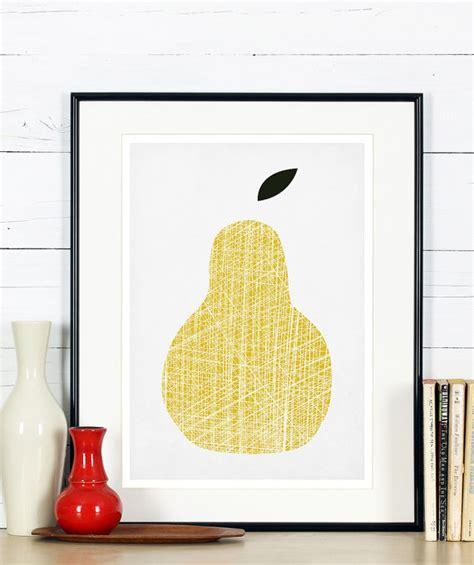affiche vintage cuisine affiche rétro de fruits poire jaune design minimaliste