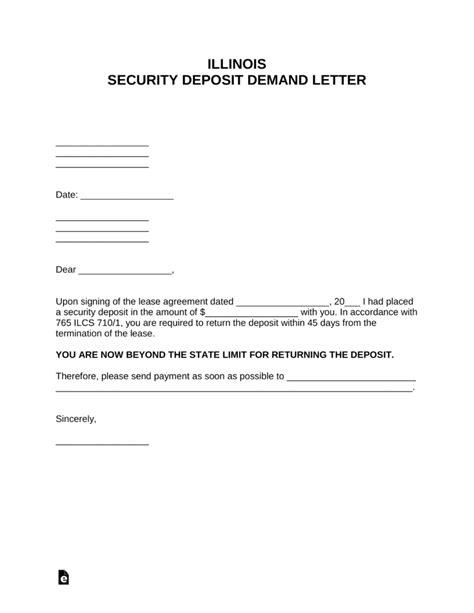 illinois security deposit demand letter  word