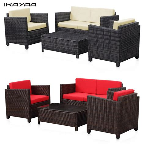 ikayaa uk stock wicker patio furniture set lawn garden