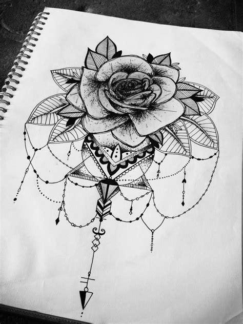 floral rose mandala geometric tattoo design illustration