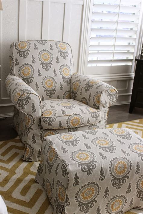 Bedroom Chairs With Ottoman by Gray Yellow Bedroom Chair And Ottoman Slipcovers By Shelley