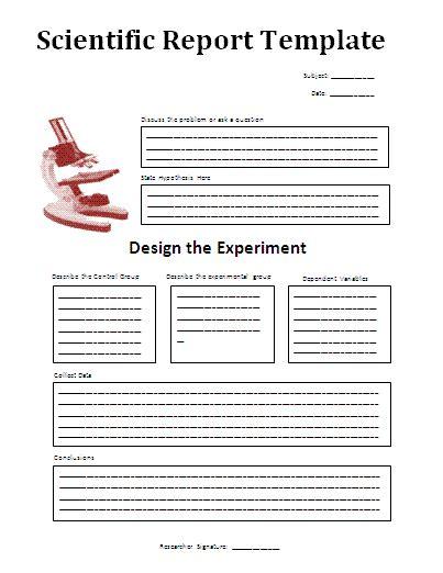 scientific method report template  report templates