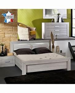 Top deco lit adulte 3 tailles chene gris eclairage integre for Chambre à coucher adulte moderne avec prix pour un bon matelas