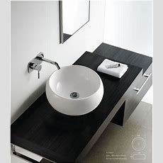 Contemporary Modern Round Ceramic Cloakroom Basin Bathroom