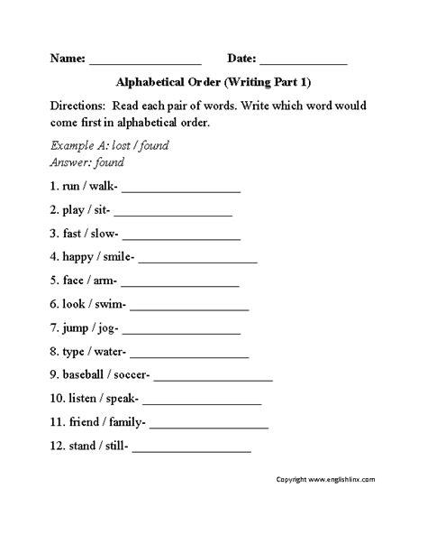 alphabet worksheets alphabetical order worksheets