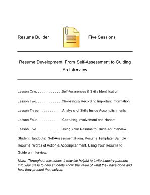 fillable cbs state or resume builder five sessions resume development from self
