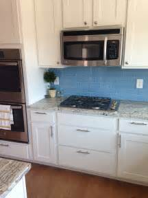 Blue Kitchen Tile Backsplash Sky Blue Glass Subway Tile Backsplash In Modern White Kitchen Subway Tile Outlet