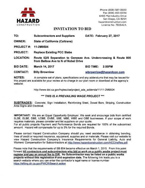 To Bid by Hazard Construction Invitation To Bid Abasd