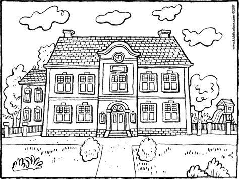 Kleurplaat Schoolgebouw by Scholen Kleurprenten Kiddicolour