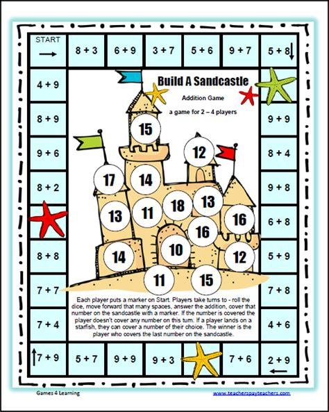 Addition And Subtraction Board Games Printables Primary