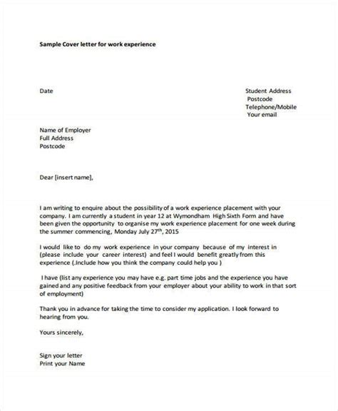 cover letter  student   word  format