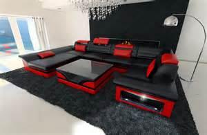 design sofa leder big leather sofa enzo with led lights black ebay