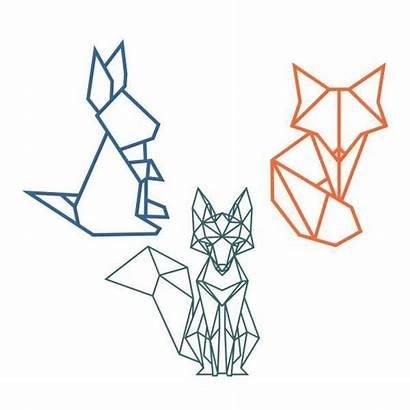 Silhouette Geometric Animal Animals Fox Origami Drawing