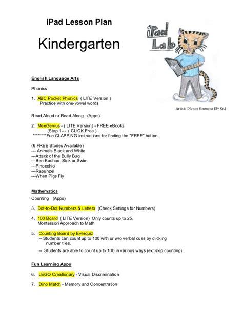 sample lesson plan for kindergarten language arts 362 | kindergarten ipad lesson plan 2 728