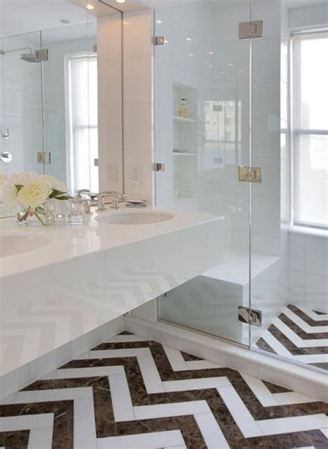 Chevron Bathroom Ideas by White Bathroom The Chevron Tile Floor Bathrooms