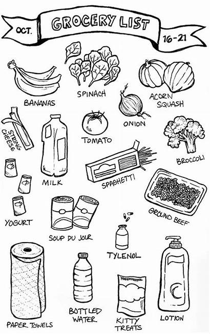 Grocery Drawing Illustrated Groceries Sketch Doodle Doodles
