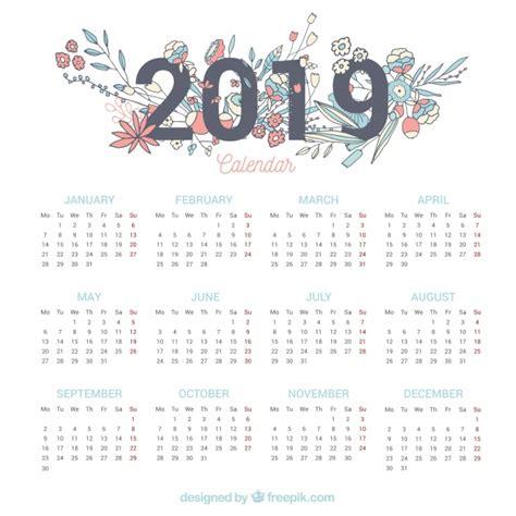 calendario elementos florales descargar vectores gratis