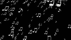 Animated Falling White Music Notes On Black Background ...