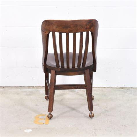 wooden desk chair w wheels loveseat vintage furniture