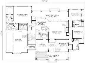 one level floor plans 2500 sq ft one level 4 bedroom house plans floor plan of country southern house plan