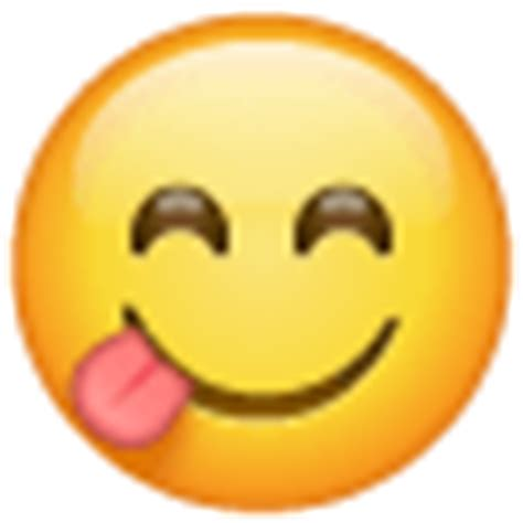 Face savoring food emoji looks like a smiley with happily closed 👀 eyes and a 👅 tongue, sticking out. Face Savouring Delicious Food Emoji