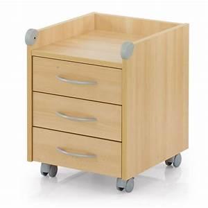 Meuble à Tiroir : meuble sur roulettes roll on 3 tiroirs bouleau achat ~ Melissatoandfro.com Idées de Décoration