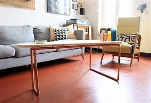 Une Table Basse Cuivre Et Bois Mariekke