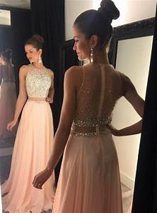 2017 Two-Piece Prom Dresses for Teens Chiffon Beaded Long