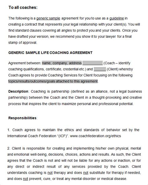 Free Coaching Templates by Coaching Contract Template 7 Free Word Pdf Documents