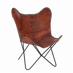Fauteuil Cuir Marron Vintage : fauteuil vintage en fer et cuir vieilli coloris marron maison et styles ~ Teatrodelosmanantiales.com Idées de Décoration
