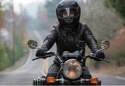 Biker Helmet Wearing Motorcycle Riding While Female