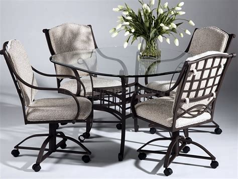 clear glass top modern dinette table w optional swivel chairs