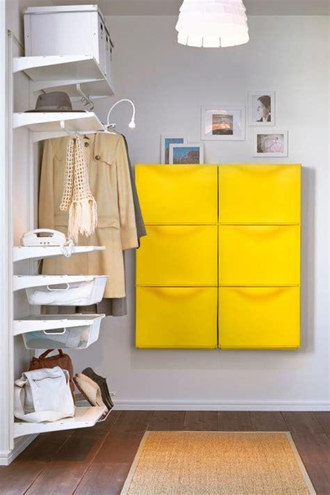 yellow ikea trones cabinet  hallway organization