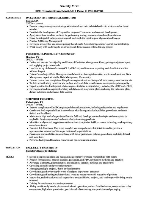 Scientist Resume by Scientist Principal Resume Sles Velvet