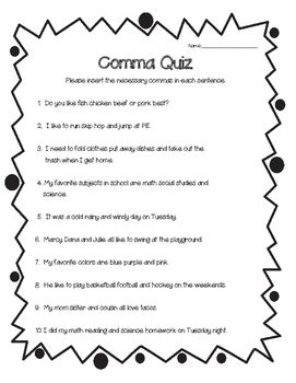 comma quiz commas in a series worksheet by 4 little baers tpt