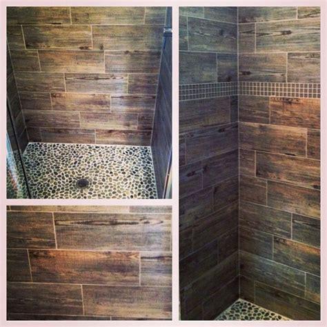 wood tile floor bench  slate shower built design