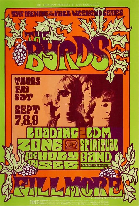 The Byrds Poster from Fillmore Auditorium, Sep 7, 1967 at