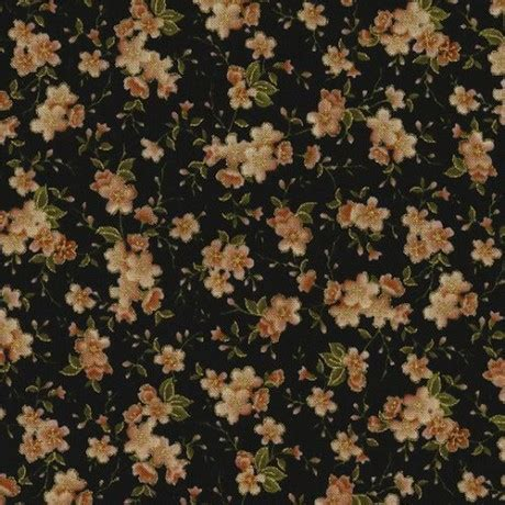 black fabric small flower gold metallic by timeless
