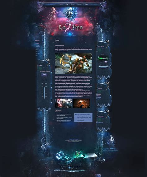 website templates fantasy aurora game theme