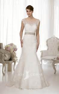 a line wedding dresses a line sash lace wedding dress with illusion cap sleeves sang maestro