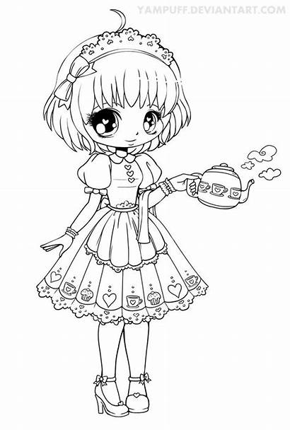 Yampuff Deviantart Lineart Honey Coloring Pages Chibi