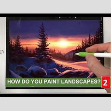 How To Paint Realistic Landscape 2 Snow Sunset Painting